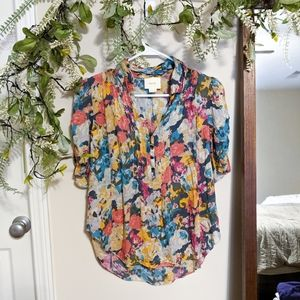 Anthro Maeve Colorful Floral Print Blouse Size 4
